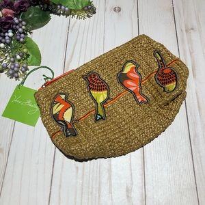 Vera Bradley Straw Pouch With Birds Orange Trim